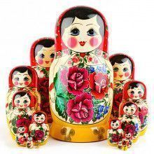 Red Roses 15 Pcs. Nesting Doll