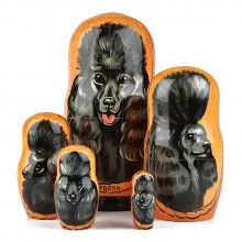 Black Poodle Nesting Doll