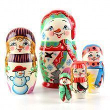 Happy Snowman Family Babushka