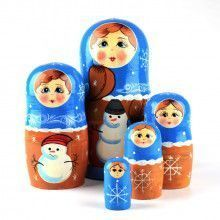 Winter Matryoshka with Snowman