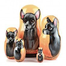 Black Chihuahua Nested Dolls