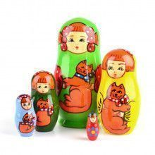 Girl with Cat - Green Matryoshka