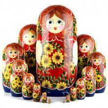 Yellow Flowers 15 Pcs Stacking Doll