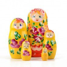Cheerful Yellow Floral Matryoshka