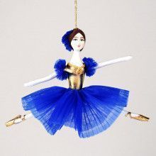Royal Blue & Gold Ballerina Ornament