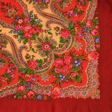 Floral Wool Red Shawl