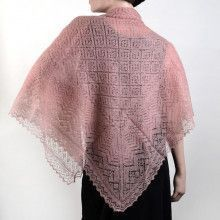 Rose Pink Orenburg Cashmere Shawl