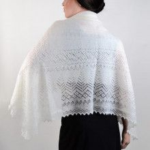 White Winter Lace Orenburg Shawl