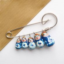 Blue Matryoshka Dolls Pin