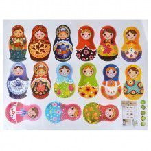15pcs Russian Matryoshka Dolls Wall Stickers