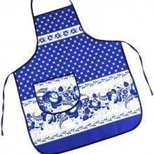 Blue Gzhel Apron with Pocket