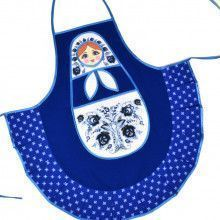 Blue Kitchen Apron with Russian Doll