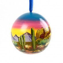 Desert Sunset Wooden Ornament Ball