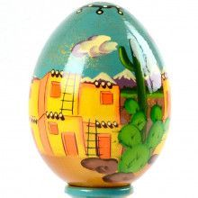 Southwest Pueblo Village Wooden Egg