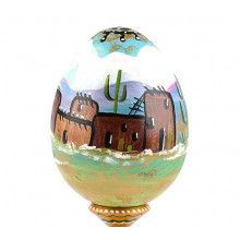 Indian Pueblo Village Wooden Egg