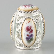 Filigree Enamel Finift Thimble from Russia