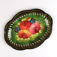 Small Green Zhostovo Tray