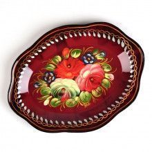 Medium Red Zhostovo Tray