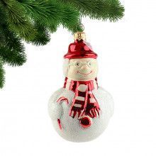 Red Hat Happy Snowman Ornament