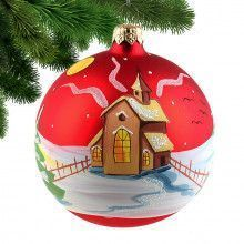 """4"""" Old Church Glass Ball - Red"""