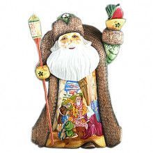 "13"" Tall Nativity Carved Santa Figure"