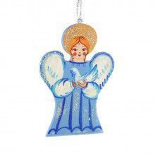 Blue Christmas Angel Tree Ornament
