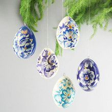 Painted Floral Eggs Ornament Set