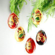 Russian Rooster Egg Ornaments