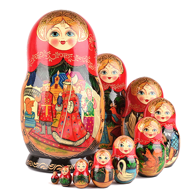 Matryoshka Babushka Wooden nesting dolls The Fairy Tale of Tsar Saltan 5pcs
