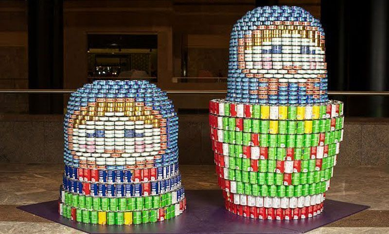 Nesting Doll Made From Cans