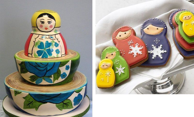 Nesting Doll Cake and Cookies