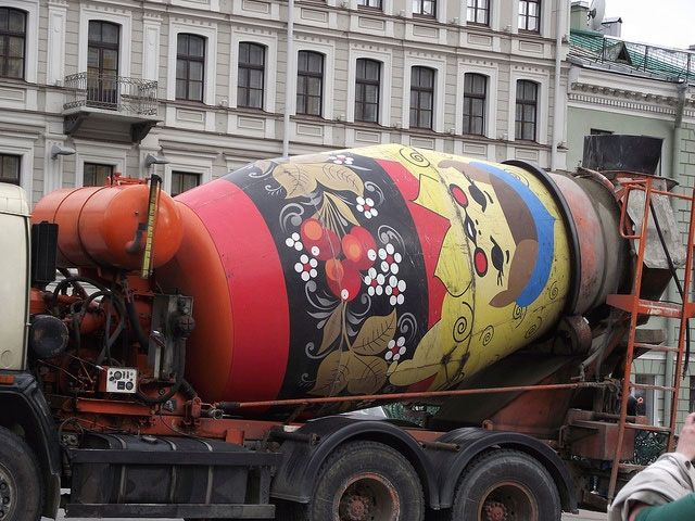 Nesting doll style real cement mixer