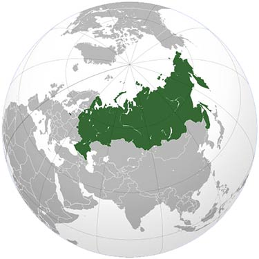 Russia highlighted on a globe