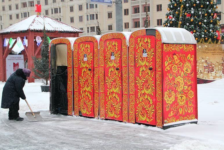 Khokhloma style port-a-potties