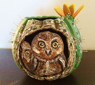 Gourd Art Entitled Elf Owls and Flowering Saguaro