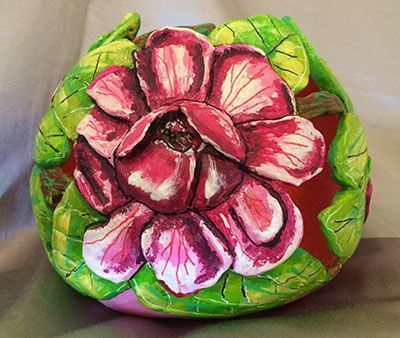 Gourd Art Entitled Mamie's Magnolias